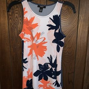 Alfani tank with navy and orange floral pattern